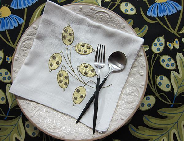 Sassaman Dollar Plant Embroidery